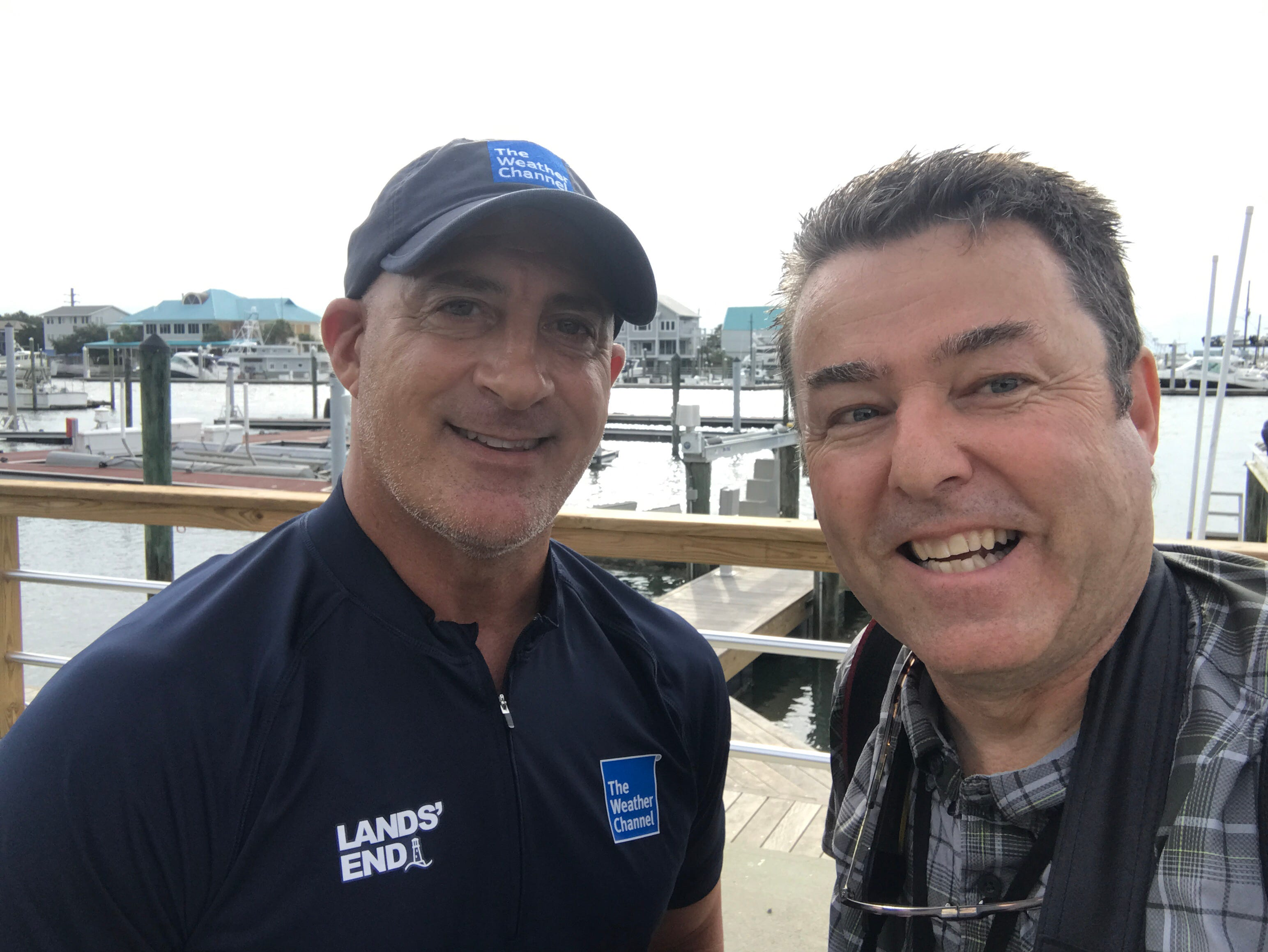 Photographer Ken Ruinard gets a selfie with The Weather Channel's Jim Cantore on Thursday, Sept. 13, 2018.