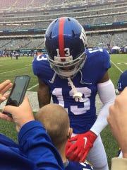 Will DeGregorio meets Odell Beckham Jr. prior to the NY Giants' opener vs. Jacksonville.