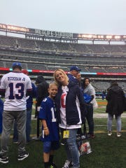 Will DeGregorio with mom Kara Shields prior to the NY Giants' opener vs. Jacksonville.