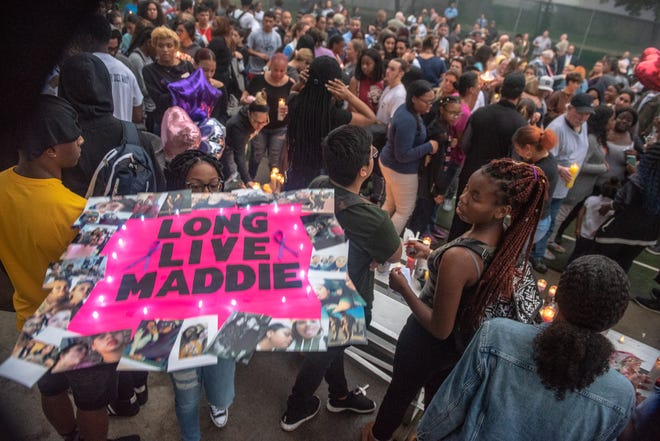 People created a memorial for Madison Wells. A candlelight vigil to celebrate the life of Long Branch High School student Madison Wells was held at Cherry Street Park in Long Branch, Wednesday, September 12, 2018. Wells was murdered in the town and died Saturday. / Russ DeSantis for the Asbury Park Press