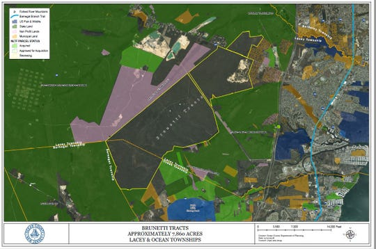 A map from the Ocean County Department of Planning showing the proposed Forked River Mountain acquisition in brown.