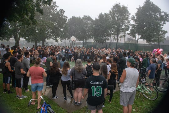 A candlelight vigil to celebrate the life of Long Branch High School student Madison Wells was held at Cherry Street Park in Long Branch, Wednesday, September 12, 2018. Wells was murdered in the town and died Saturday. / Russ DeSantis for the Asbury Park Press