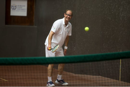 Prince Edward, Earl of Wessex, visits Georgian Court University during the Tennis Challenge 2018. The prince played Court Tennis on one of only nine courts in the country to bring awareness and support for his International Award.  