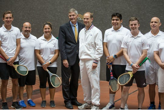Prince Edward, Earl of Wessex, visits Georgian Court University during the Tennis Challenge 2018. The prince played Court Tennis on one of only nine courts in the country to bring awareness and support for his International Award. Prince Edward with Georgian Court University President Dr. Joseph R. Marbach.