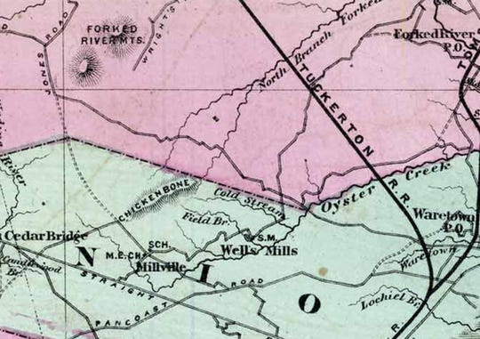 A partial view of an 1872 map of Ocean County shows the location of the Forked River Mountains and the Tuckerton Railroad.