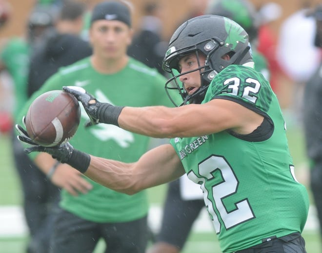 North Texas receiver Michael Lawrence catches the ball during a drill before the Mean Green's game against Incarnate Word last season at Apogee Stadium. North Texas won the game 58-16.