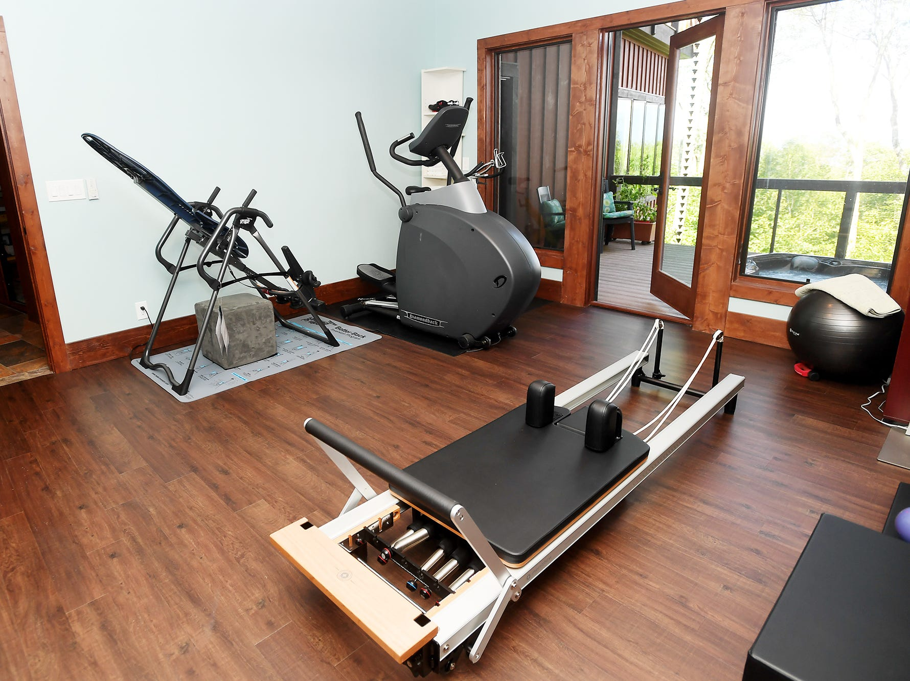 The gym on the basement floor of Jim and Sabrina Watson's Balsam Mountain Preserve home in Jackson County.