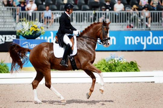 Julio Mendoza, of Columbus, NC, competes for Ecuador in dressage at the World Equestrian Games in Tryon Sept. 13, 2018.