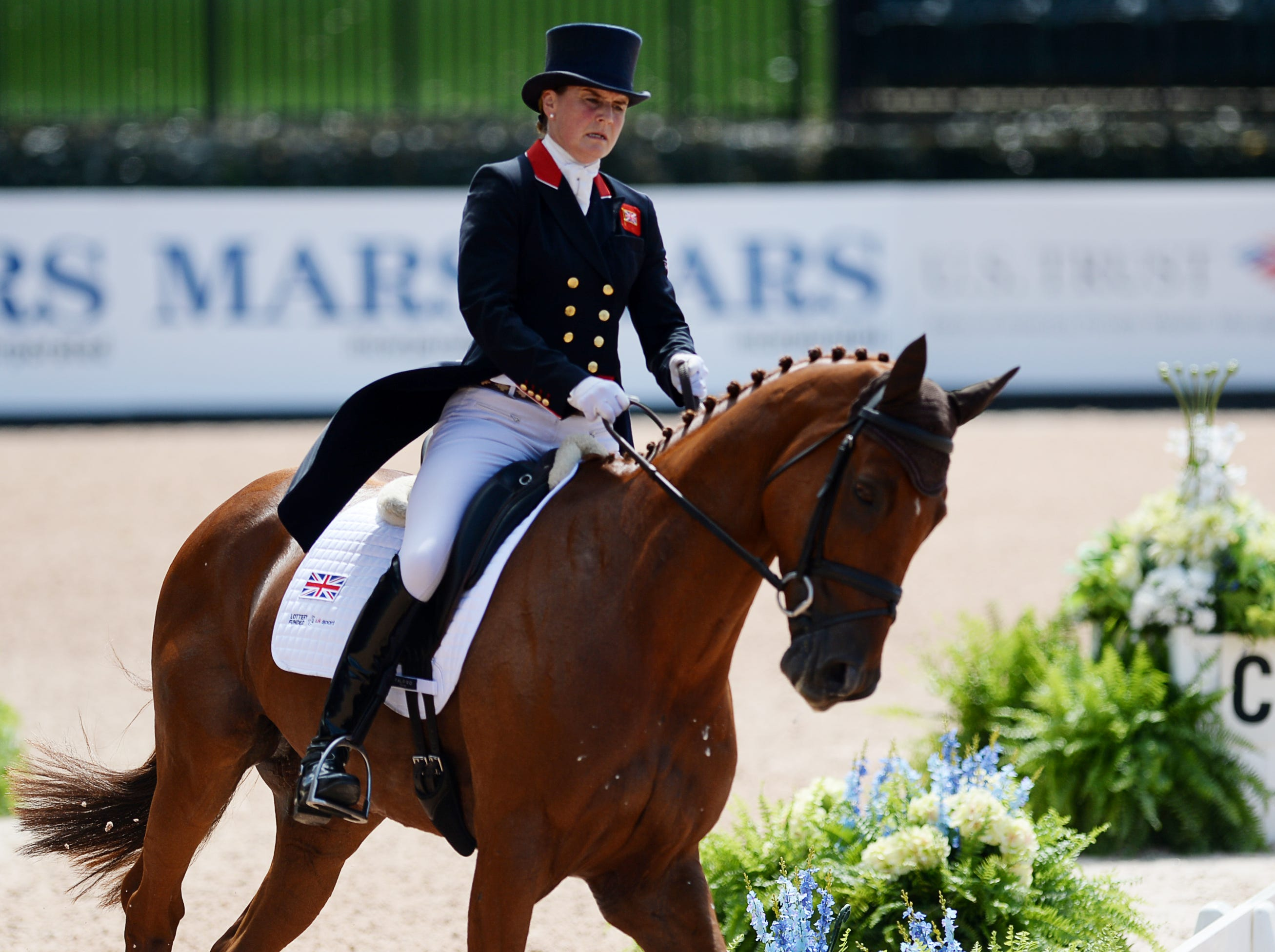 Piggy French rides Quarrycrest Echo as she competes for Great Britain in the dressage portion of the eventing competition at the World Equestrian Games in Tryon Sept. 13, 2018.