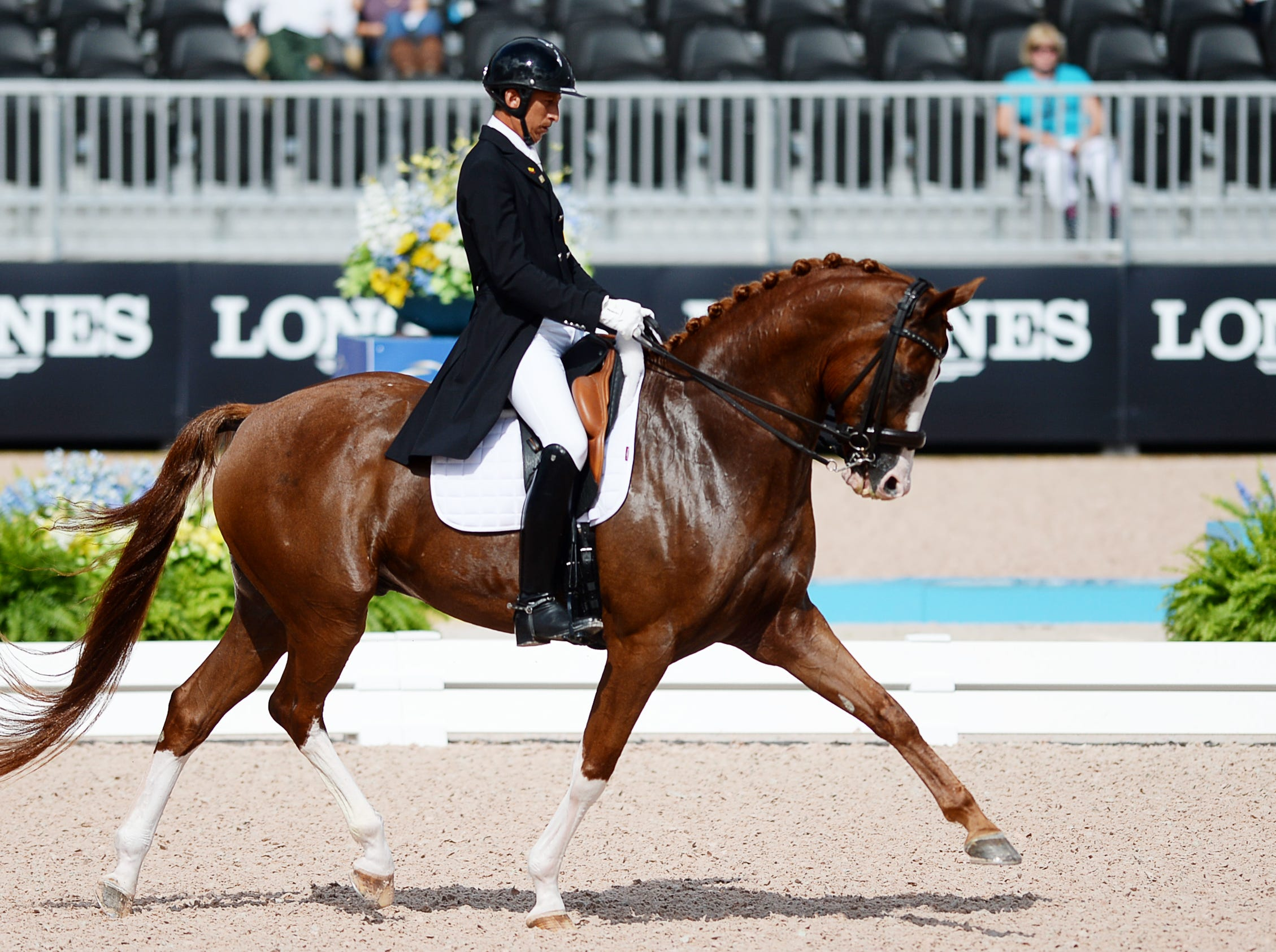 Julio Mendoza, of Columbus, NC, competed for Ecuador in dressage at the World Equestrian Games in Tryon Sept. 13, 2018.