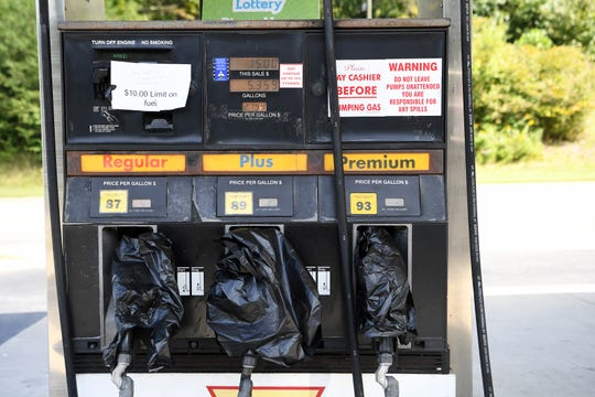 Plastic bags on the pumps at Reynolds Valley Market indicated that they were out of gasoline around noon Thursday.