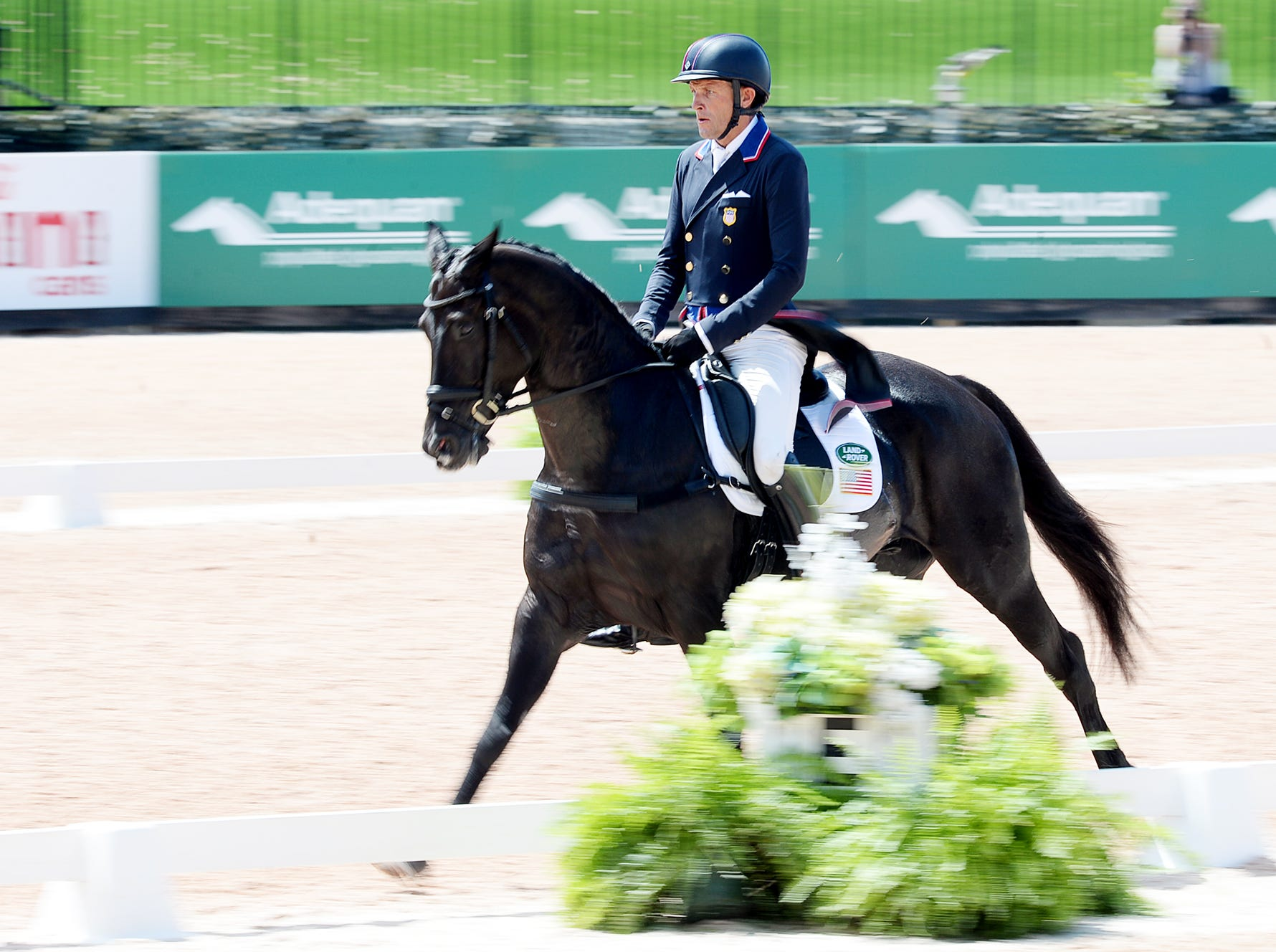 Boyd Martin rides Tsetserleg as he competes for the United States in the dressage portion of the eventing competition at the World Equestrian Games in Tryon Sept. 13, 2018.