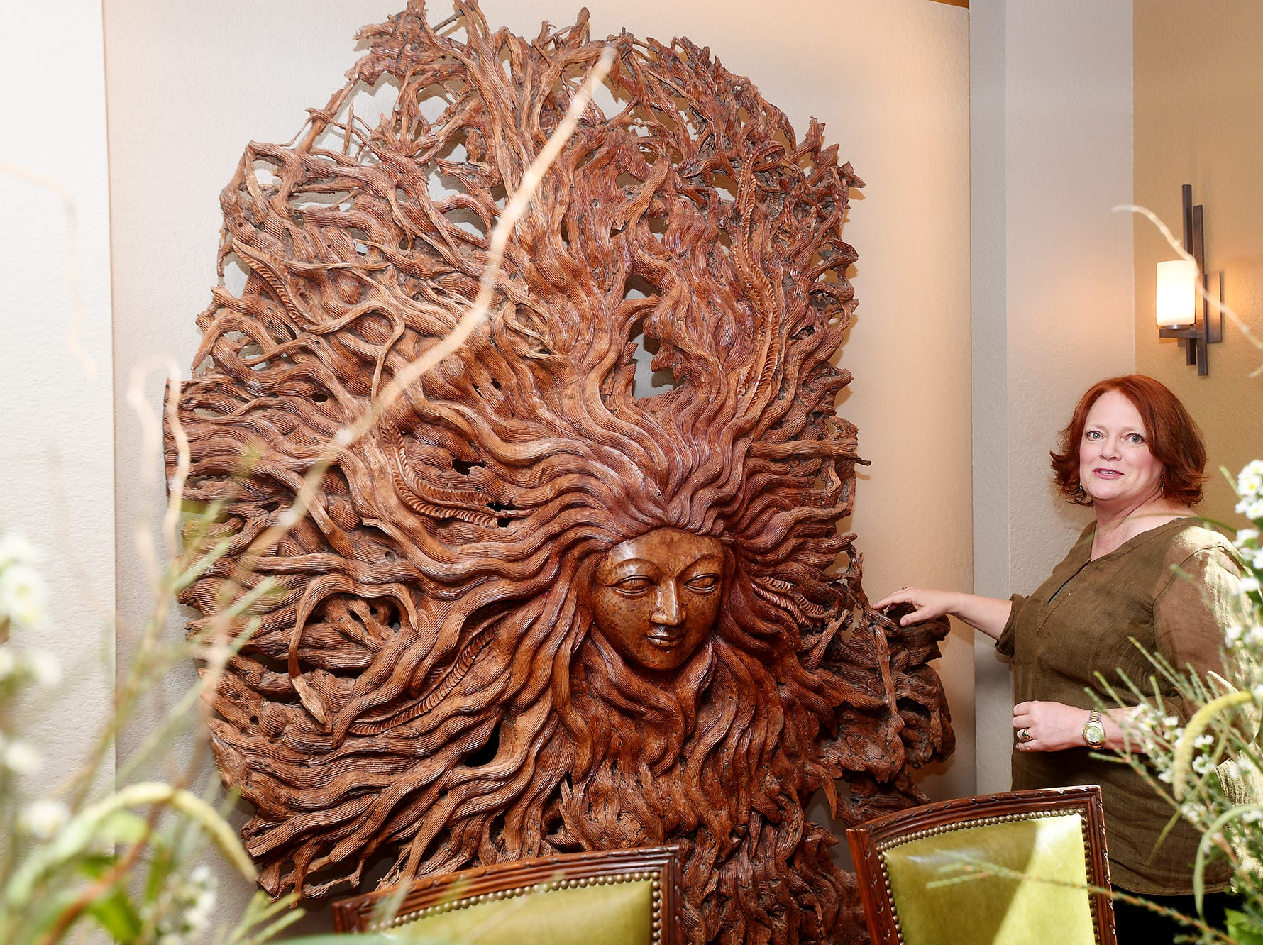 "A wood carving Sabrina Watson described as the ""spirit"" of her Balsam Mountain Preserve home in Jackson County."
