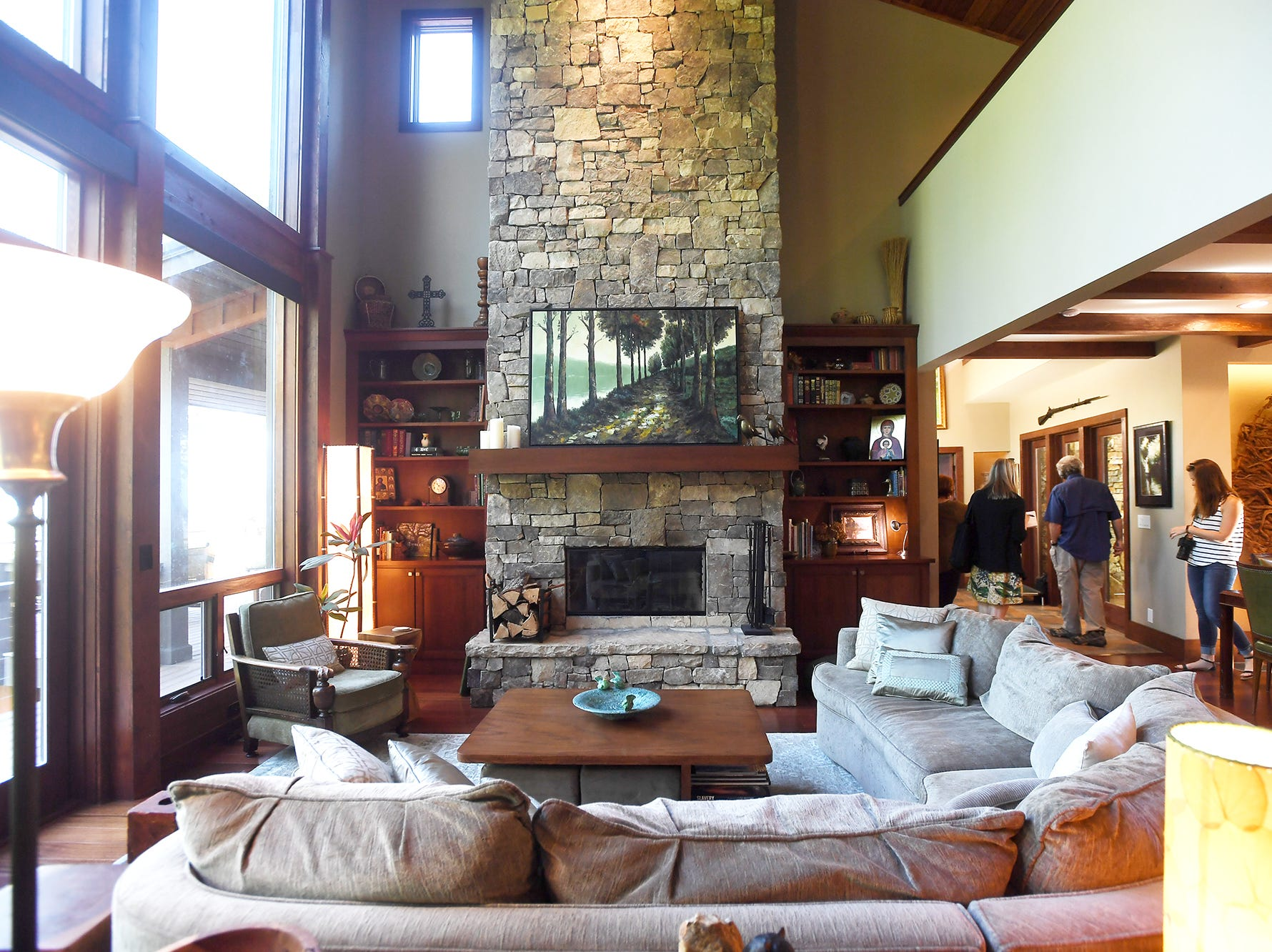 The living room in Jim and Sabrina Watson's Balsam Mountain Preserve home in Jackson County.