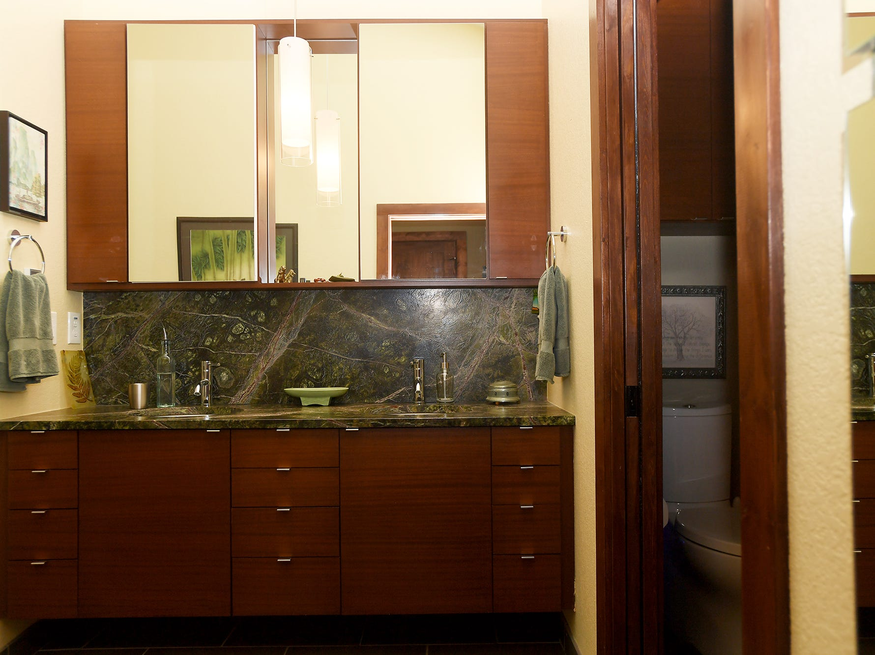 The master bathroom in Jim and Sabrina Watson's Balsam Mountain Preserve home in Jackson County.