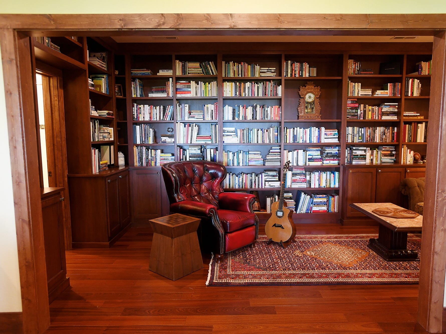 The library in Jim and Sabrina Watson's Balsam Mountain Preserve home in Jackson County.