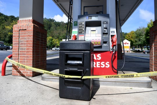 The gas pumps at the Ingles on Tunnel Road near Beaucatcher Tunnel were roped off and out of gasoline Thursday morning.