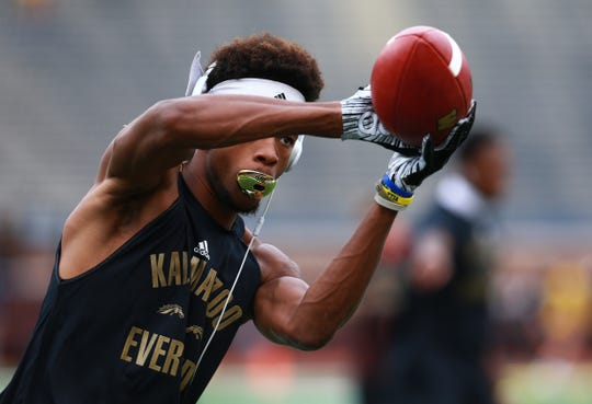 Jayden Reed of Western Michigan Broncos warms up prior to the game against the Michigan Wolverines at Michigan Stadium on September 8, 2018 in Ann Arbor, Michigan.