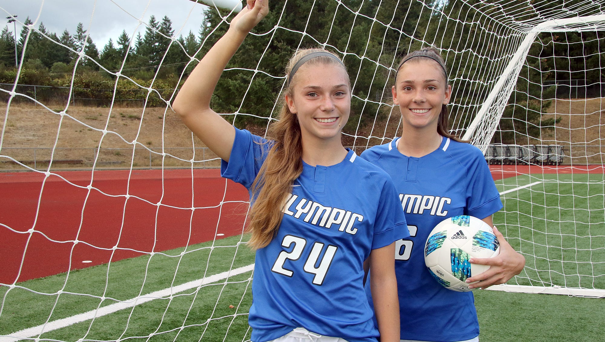Twin sisters Hanna, left, and Sydney Troy of Olympic High School.