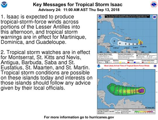 Tropical Storm Isaac 11 a.m. Sept. 13, 2018