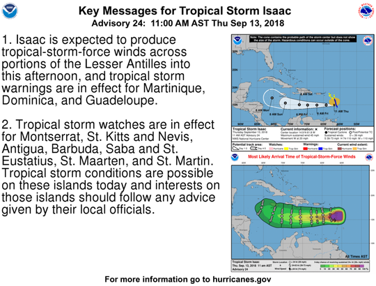 Tropical Storm Isaac 11 a.m. Sept. 13, 2018