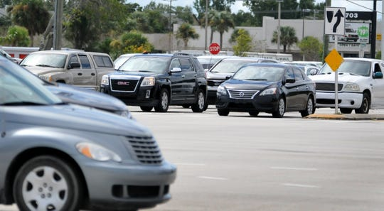 Traffic at the intersection of Babcock Street and Palm Bay Road.