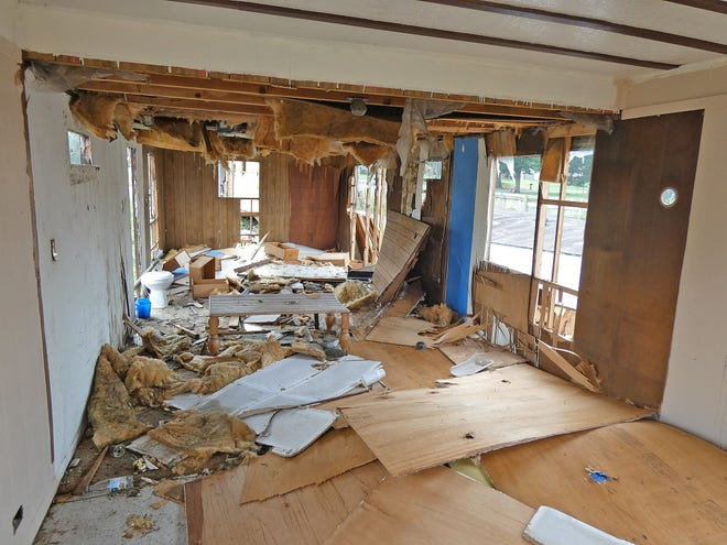 Inside a partially stripped trailer at the McFarland's Mobile Home Park.