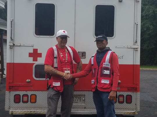 Vincent Giammusso (left) of Malaga and Steve Chico of Bergen County assisted in the American Red Cross New Jersey Region's response to Hurricane Florence in September. Now Giammusso is in California, helping victims of the catastrophic wildfires there.