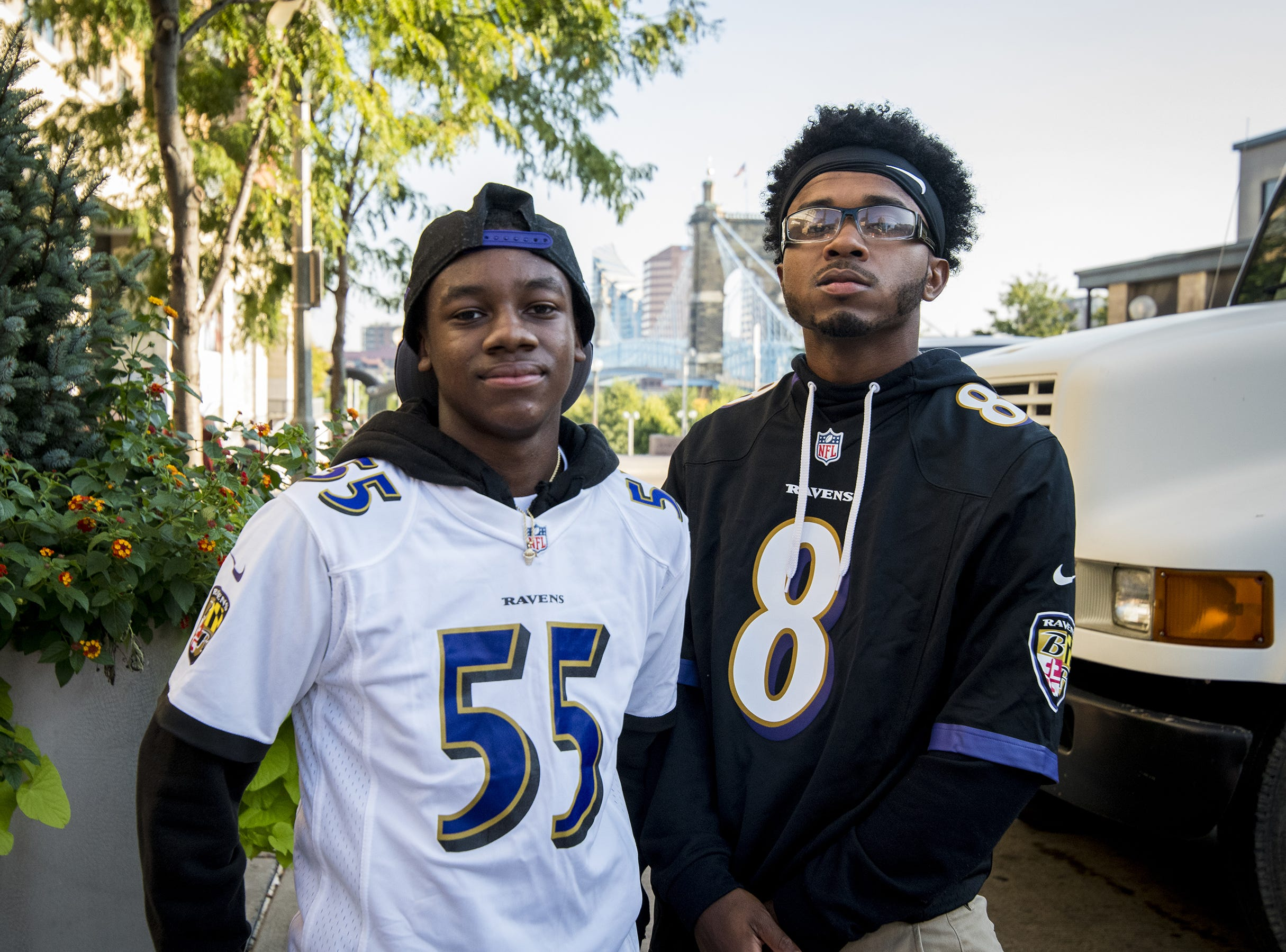 Ravens fans Mike Goyns and DJ Fowlkes of Baltimore hang out at the Bud Light Tailgate zone before the Bengals game against the Baltimore Ravens Thursday, September 13, 2018 in Cincinnati, Ohio.
