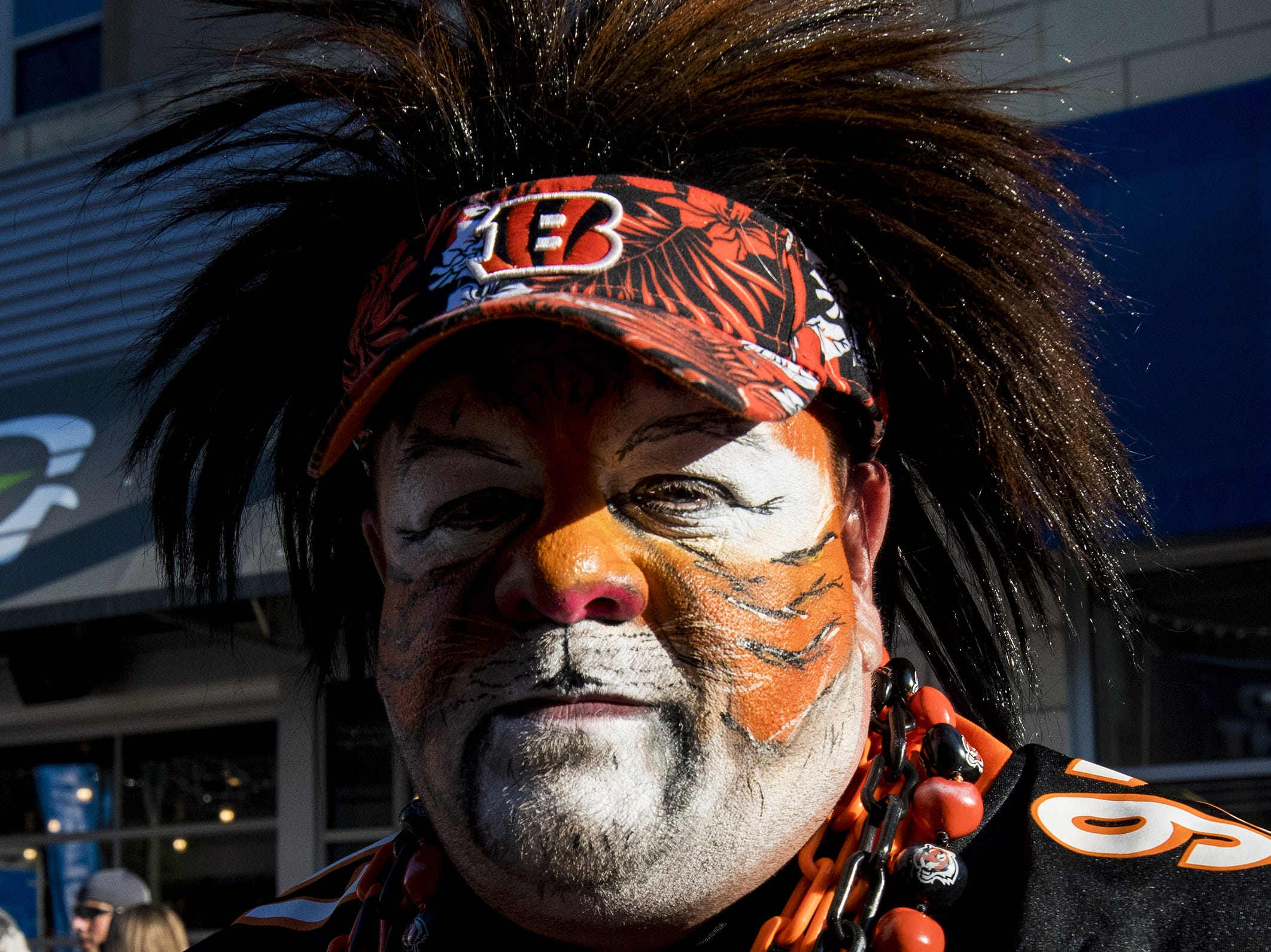 Anthony Brooks of Eastgate sports his bengal tiger facepaint in the Bud Light Tailgate zone before the Bengals game against the Baltimore Ravens Thursday, September 13, 2018 in Cincinnati, Ohio.