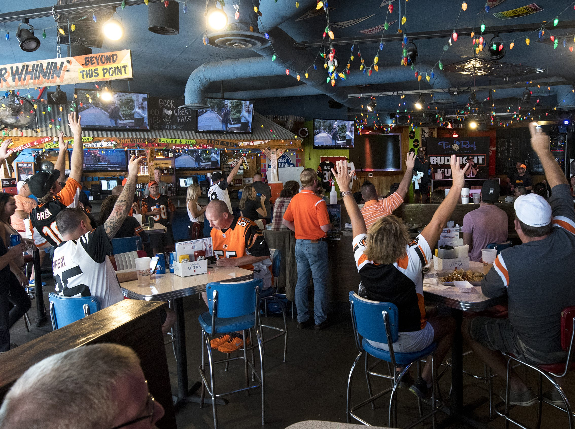 Bengals fans hang out at the Tin Roof before the Bengals game against the Baltimore Ravens Thursday, September 13, 2018 in Cincinnati, Ohio.