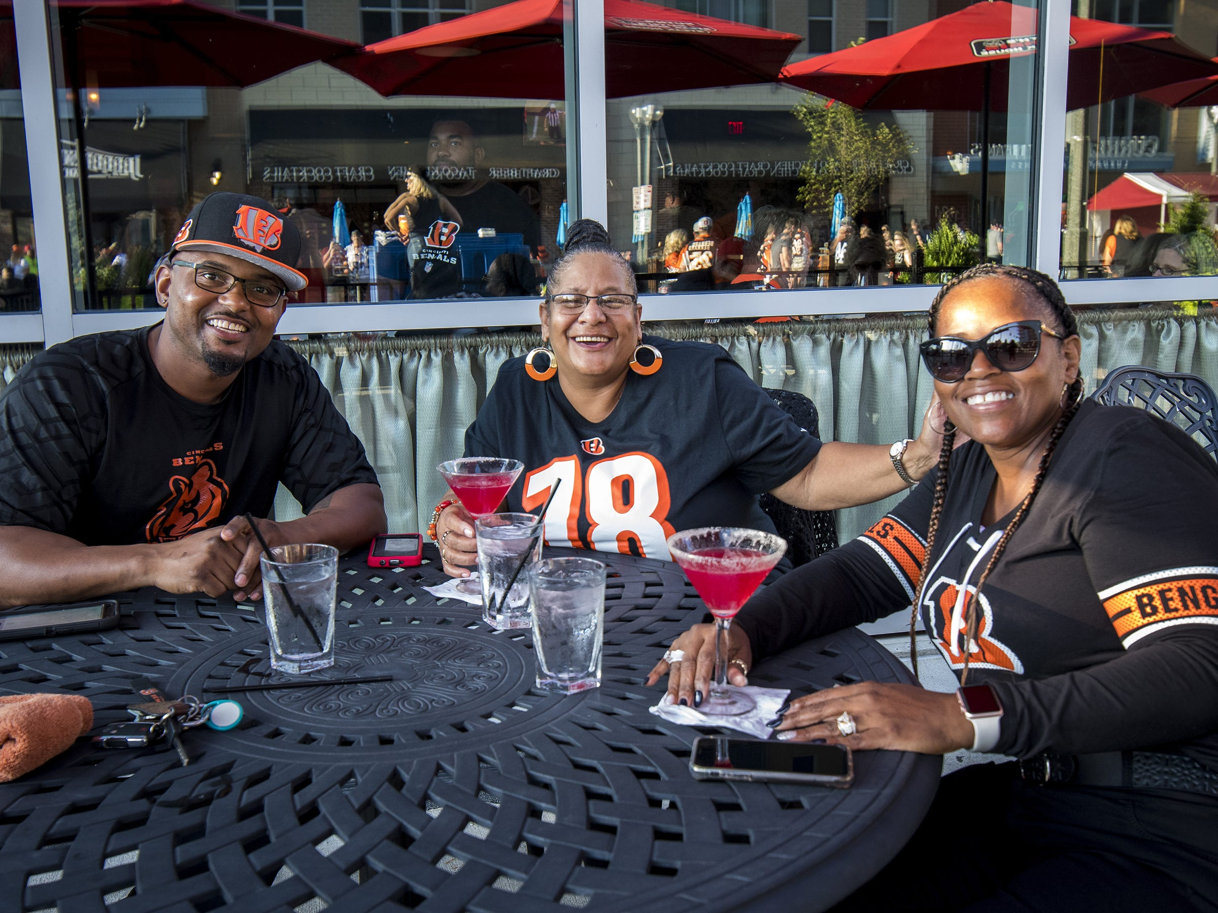 Dionne and Angela Smith and Carliss Oneal have a drink at Ruths Chris before the Bengals game against the Baltimore Ravens Thursday, September 13, 2018 in Cincinnati, Ohio.