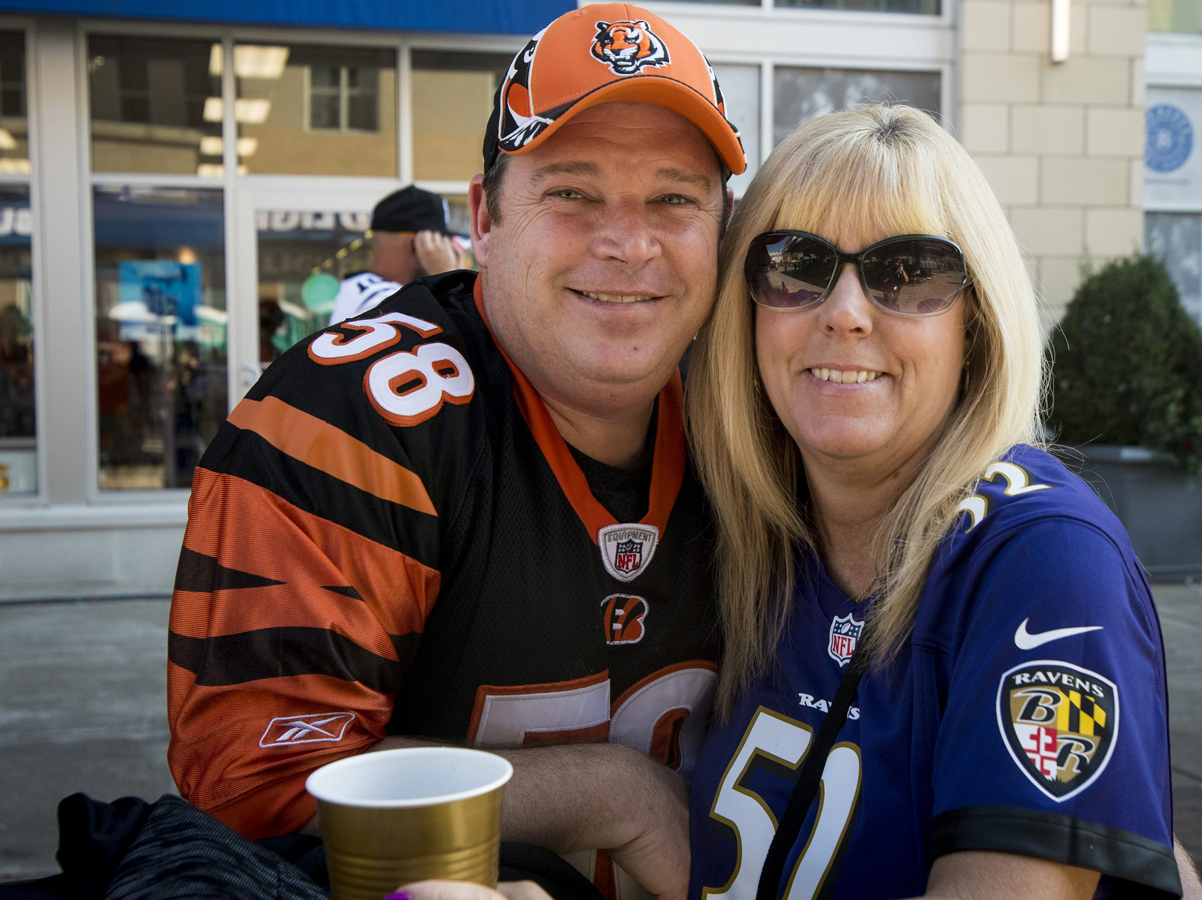 Drew and Tane Smith of Springboro hang out in the Bud Light Tailgate zone at The Bank before the Bengals game against the Baltimore Ravens Thursday, September 13, 2018 in Cincinnati, Ohio.