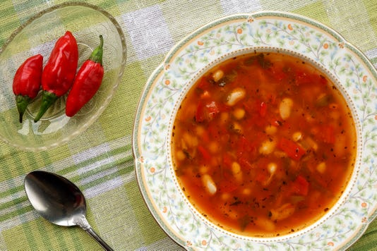 Homemade Delicious Traditional Bulgarian Bean Soup Bob Chorba Served With Red Chili Peppers