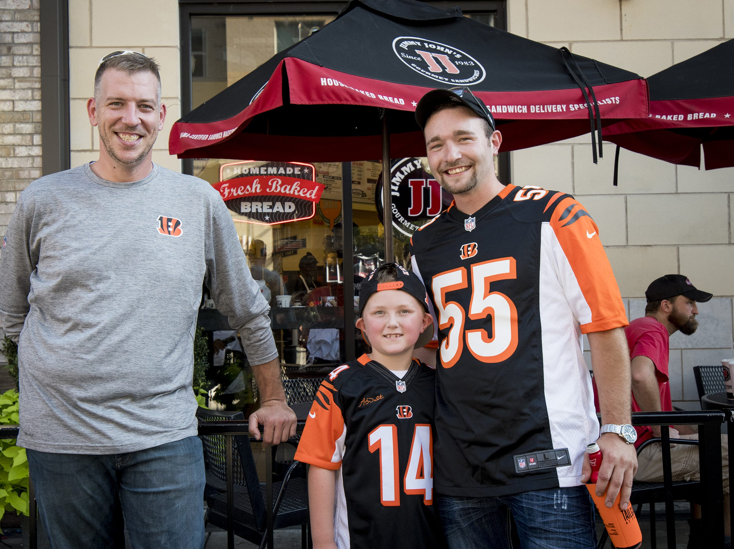 Aaron, Mizanin and Tyler Pine of Marion hang out in the Bud Light Tailgate zone before the Bengals game against the Baltimore Ravens Thursday, September 13, 2018 in Cincinnati, Ohio.
