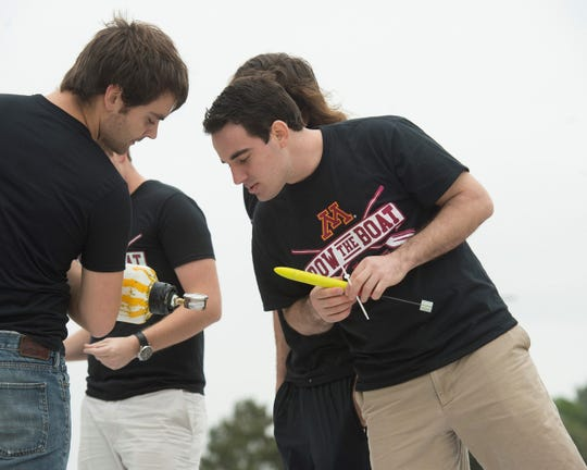 University of Minnesota students prepare to launch their winning rocket at the Bayer-Big Ten Alka-Rocket Challenge at Space Center Houston.