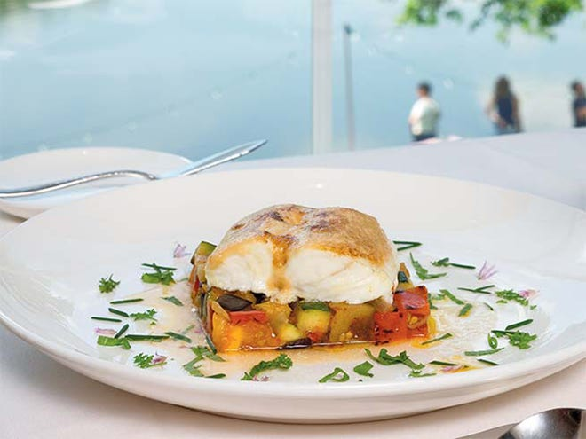 Garlic-Glazed Halibut, Ratatouille, and Herb Broth at Andre's Lakeside Dining, Sparta