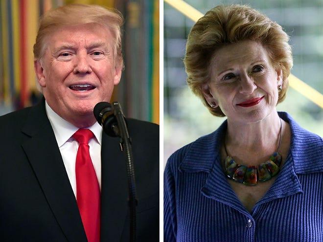 President Donald Trump, left, and U.S. Sen. Debbie Stabenow, D-Mich.