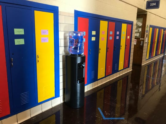 A water cooler sits in the hallway of Gardner Elementary School in the Detroit Public Schools Community District.