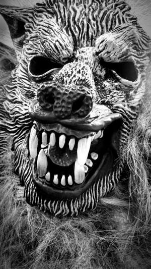 Black and white photograph of a werewolf costume