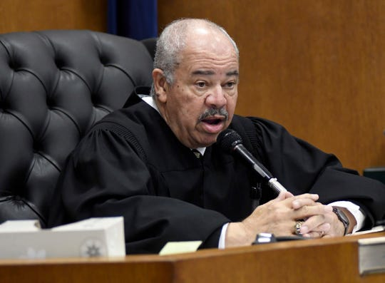Judge Ulysses Boykin sentences Exel Taylor to 17-32 years in prison Thursday in Detroit. Taylor was trading shots at a Detroit gas station when one of the bullets struck a 3-year-old girl, London Muldrow.