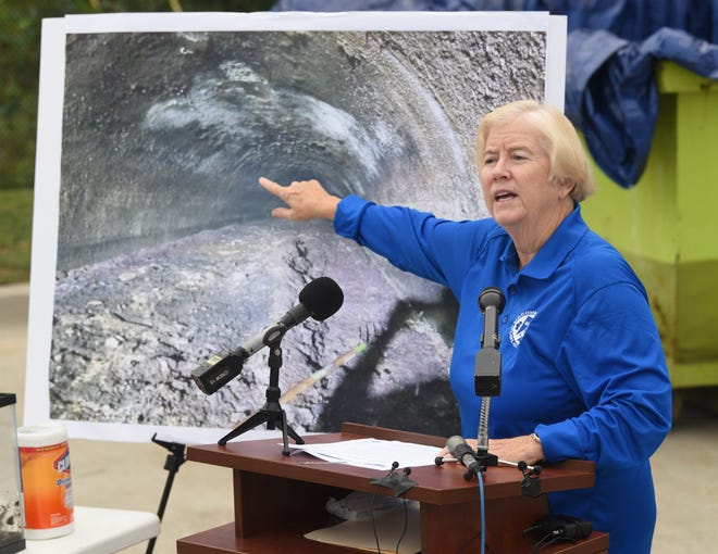 Macomb County Public Works Commissioner Candice Miller speaks at news conference  on Thursday about a fatberg found inside a local sewer pipeline.  A fatberg is a collection of fats, oils and grease that collect in a pipe and are mixed with solid items that are flushed down sewer pipes, such as baby wipes.