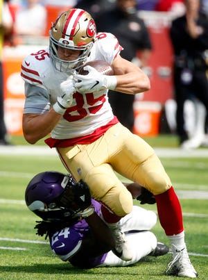 San Francisco 49ers tight end George Kittle had five catches for 90 yards in a Week 1 loss to the Minnesota Vikings.