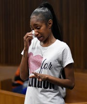 Laurice Henderson, the mother of shooting victim London Muldrow, now age 4, weeps as she gives a victim's impact statement before the sentencing of Exel Taylor Thursday in Detroit.