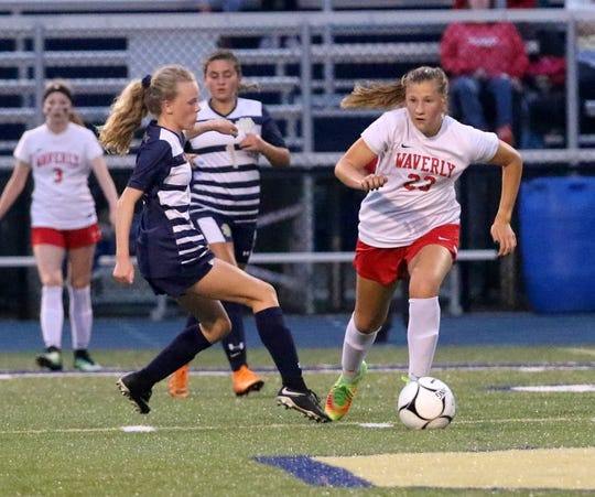 Elmira Notre Dame's Rachael Simpson, left, and Waverly's Cora Smith chase the ball during the Wolverines' 4-0 win Sept. 12, 2018 at Brewer Memorial Stadium.