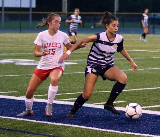 Laurel Vargas of Elmira Notre Dame controls the ball as Waverly's Melina Ortiz defends during the Wolverines' 4-0 victory Sept. 12, 2018 at Brewer Memorial Stadium.