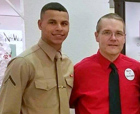 Chemung County legislator Rodney Strange, right, met U.S. Marine Sgt. Christopher Truax of Horseheads in 2014.