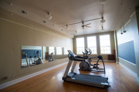 A fitness center is one of the amenities in the Parish School Apartments. Commonwealth St. Mary's, St. Joe's. July 29, 2018.