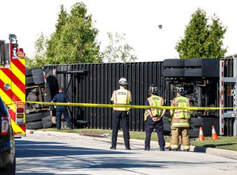 A semi tipped over going around a turn on Larsen Drive in the City of Fond du Lac, injuring the driver.