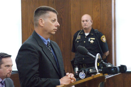 Ex-Sandusky County Sheriff's Office Detective Sean O'Connell, shown here during a September court session, illegally used the Ohio Law Enforcement Gateway for a search of the Sandusky Register's Managing Editor Matt Westerhold, according to records released Thursday by the Ohio Attorney General's Office.